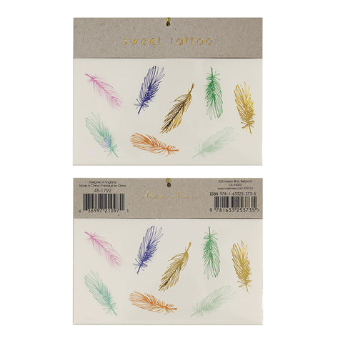 Coloured Feathers Temporary Tattoos