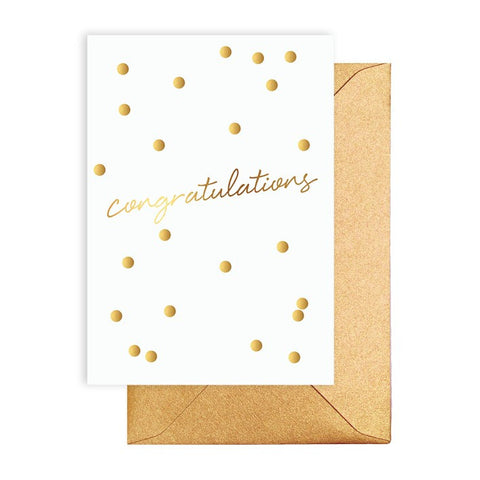 Congratulations Gold Confetti Card - Lemonade Occasions