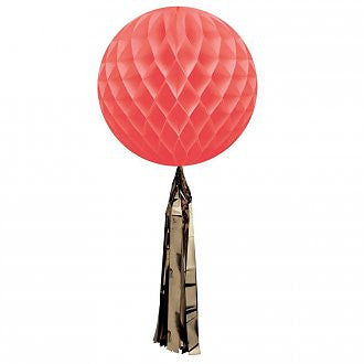 Coral Honeycomb Ball with a Gold Metallic Tassel - Lemonade Occasions