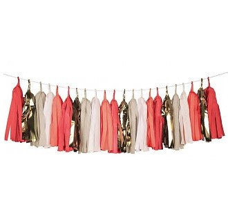 Coral and Metallic Tassel Garland - Lemonade Occasions