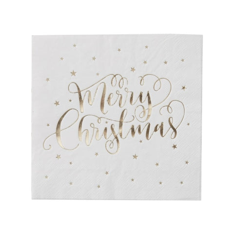 Metallic Gold Merry Christmas Large Napkins - Lemonade Occasions