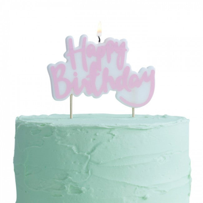 Pink and White Happy Birthday Candle - Lemonade Occasions