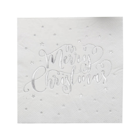 Silver Foiled Merry Christmas Large Napkins - Lemonade Occasions