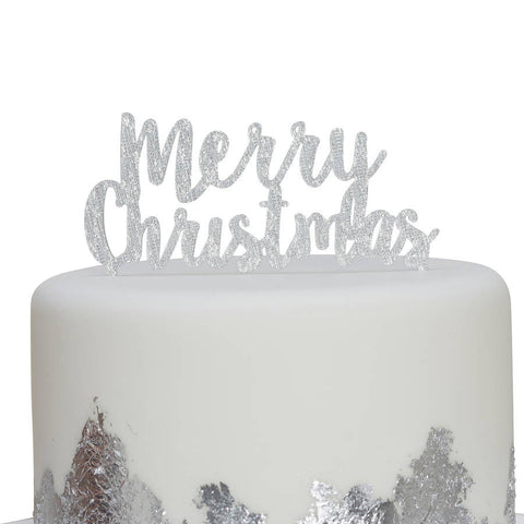 Silver Merry Christmas Cake Topper - Lemonade Occasions