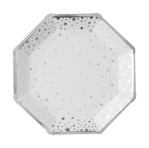 Silver Metallic Star Party Plates - Lemonade Occasions