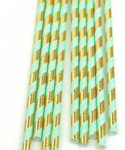 Mint and Gold Foil Paper Straws - Lemonade Occasions