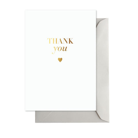Thank You Classic Gold Card with Gold Heart - Lemonade Occasions