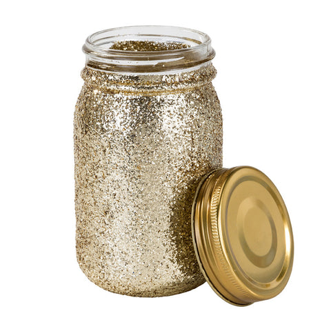 Be Happy Gold Glitter Jar - Lemonade Occasions