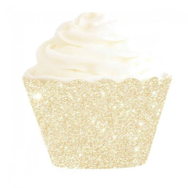 Gold Glitter Cupcake Wrapper - Lemonade Occasions