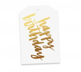 Gold Happy Birthday Gift Tag - Lemonade Occasions