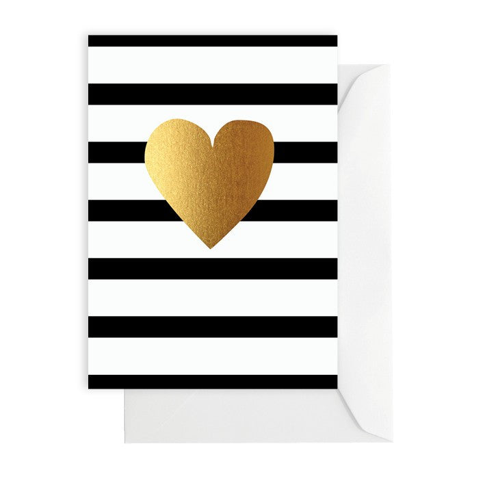 Gold Heart Black and White Stripe Greeting Card - Lemonade Occasions
