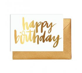 Gold Lettering Happy Birthday Card - Lemonade Occasions