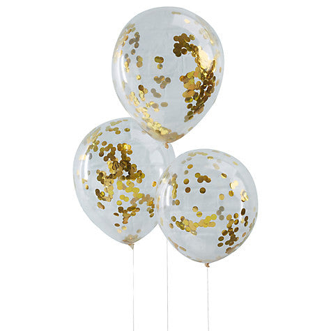 Gold Confetti Filled Balloons - Lemonade Occasions