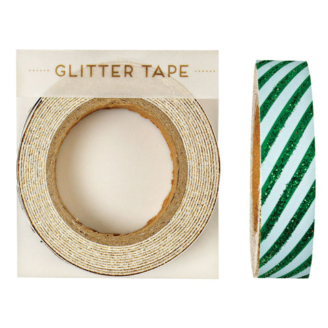 Green Sparkly Striped Tape - Lemonade Occasions
