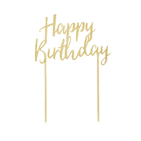 Happy Birthday Gold Cake Topper - Lemonade Occasions