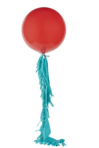 Red Jumbo Balloon with Turquoise Fringe - Poppies for Grace