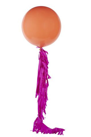 Coral Jumbo Balloon with Fuschia Fringe - Lemonade Occasions
