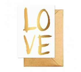 LOVE Gold Brush Greeting Card - Lemonade Occasions