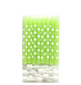 Lime Polkadot Cake Candles - Lemonade Occasions
