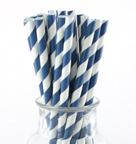 Navy Striped Paper Straws - Lemonade Occasions