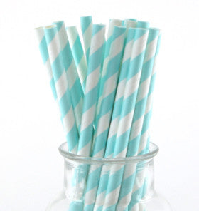 Pale Blue Striped Paper Straws - Lemonade Occasions