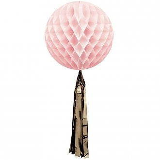 Soft Pink Honeycomb Ball with a Metallic Gold Tassel - Lemonade Occasions