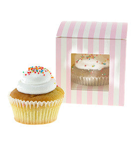 Pink Candy Stripe Individul Cupcake Boxes (Pack of 6) - Lemonade Occasions