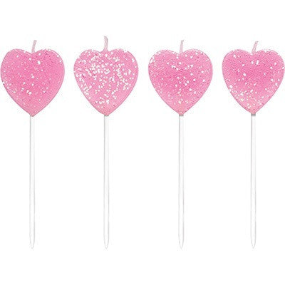 Pink Glitter Heart Pick Cake Candles - Lemonade Occasions