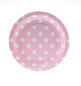 Pink with White Polkadot Small Plates - Lemonade Occasions