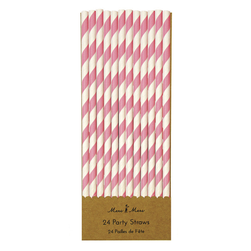 Pink and White Party Straws - Lemonade Occasions