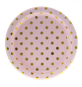 Pink with Gold Foil Polkadot Party Plates - Lemonade Occasions