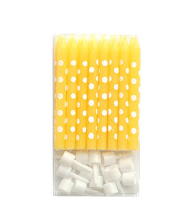 Yellow Polkadot Cake Candles - Lemonade Occasions