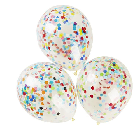 "12"" Rainbow Confetti Balloons - Pack of 3 - Lemonade Occasions"