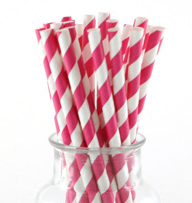 Raspberry Striped Paper Straws - Lemonade Occasions