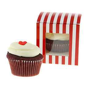 Red Candy Stripe Individual Cupcake Boxes (Pack of 6) - Lemonade Occasions