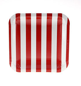 Red Candy Stripe Square Plate - Lemonade Occasions