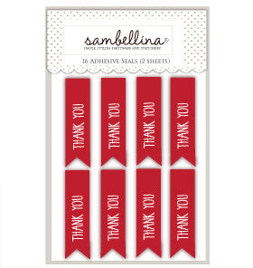 Red Thank You Flag Sticker Seals - Lemonade Occasions