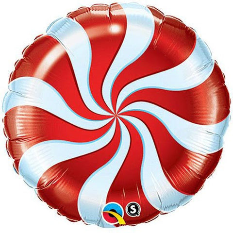 Red Candy Stripe Foil Balloon - Lemonade Occasions