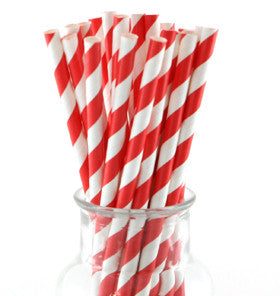 Red Striped Paper Straws - Lemonade Occasions