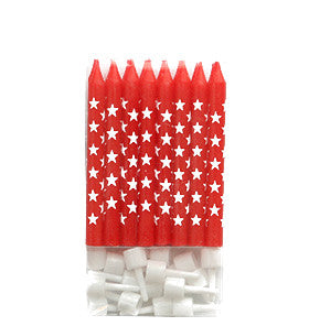 Red and White Star Cake Candles - Lemonade Occasions