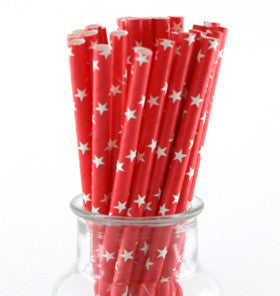 Red with White Star Paper Straws - Lemonade Occasions