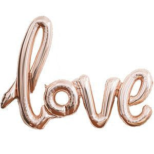 Rose Gold 'Love' Script Foil Balloon - Lemonade Occasions