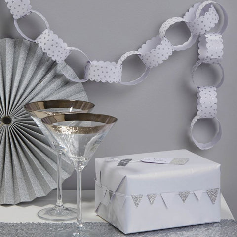 White and Silver Glitter Star Paper Chains - Lemonade Occasions