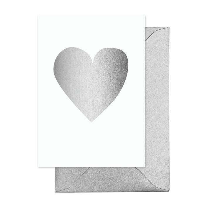 Silver Heart Greeting Card - Lemonade Occasions