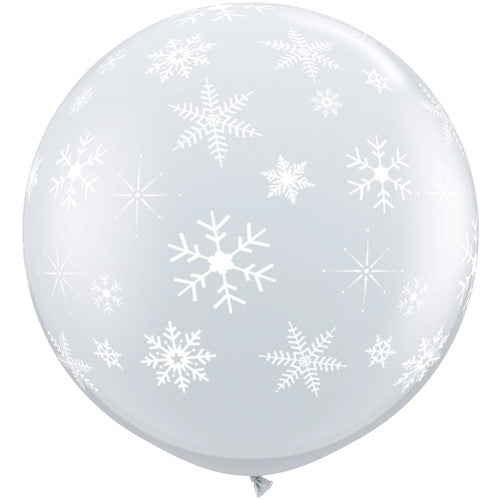 Jumbo Clear Snowflake and Sparkles Balloon - Lemonade Occasions