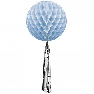 Pale Blue Honeycomb Ball with a Silver Metallic Tassel - Lemonade Occasions