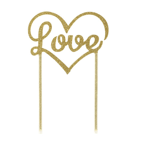 Glittering Gold 'Love' Cake Topper - Lemonade Occasions