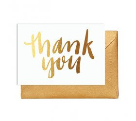 Thank You Card with Gold Lettering - Lemonade Occasions