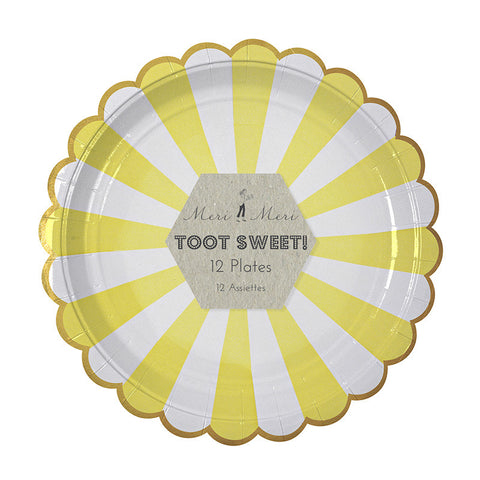 Toot Sweet Yellow Striped Large Party Plates - Lemonade Occasions