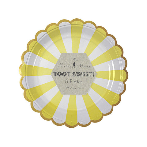 Toot Sweet Yellow Striped Small Party Plates - Lemonade Occasions